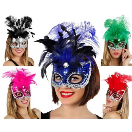Mascara Lentejuelas con plumas